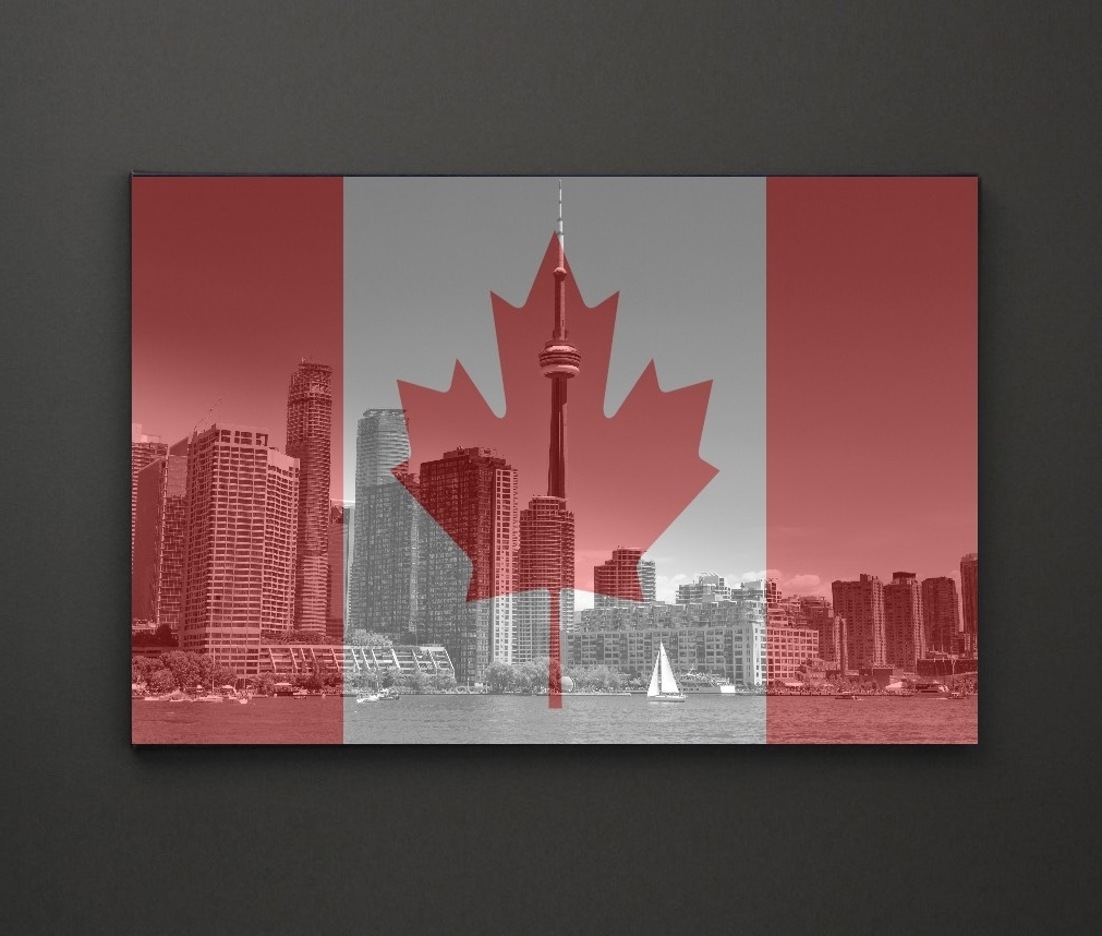 Most Current Cn Tower Canada Flag A4 Framed/box Canvas A4 A3 A2 A1 Gift Ideas Regarding Leadgate Canvas Wall Art (View 7 of 15)