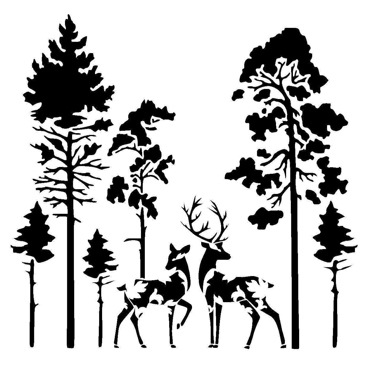 Most Current Fabric Animal Silhouette Wall Art For Details About Deers In Forest Stencil Craft,fabric,glass,furniture (View 9 of 15)