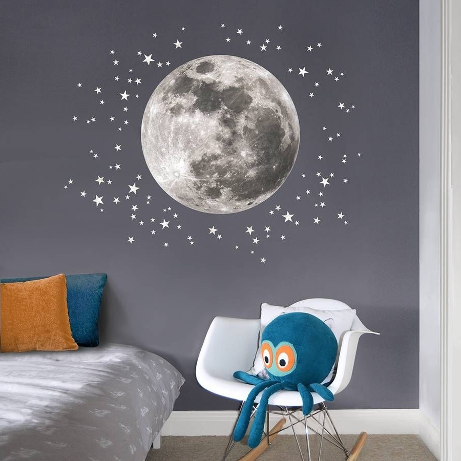 Most Current Fabric Wall Art Stickers Pertaining To Are You Interested In Our Moon And Stars Childrens Wall Sticker (View 9 of 15)