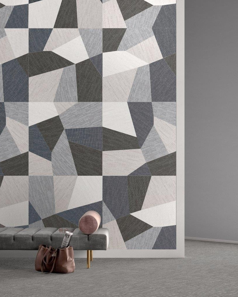 Most Current Geometric Fabric Wall Art With Regard To Brand New! 'denim' Porcelain Fuses Geometric Design With A Fabric (View 10 of 15)