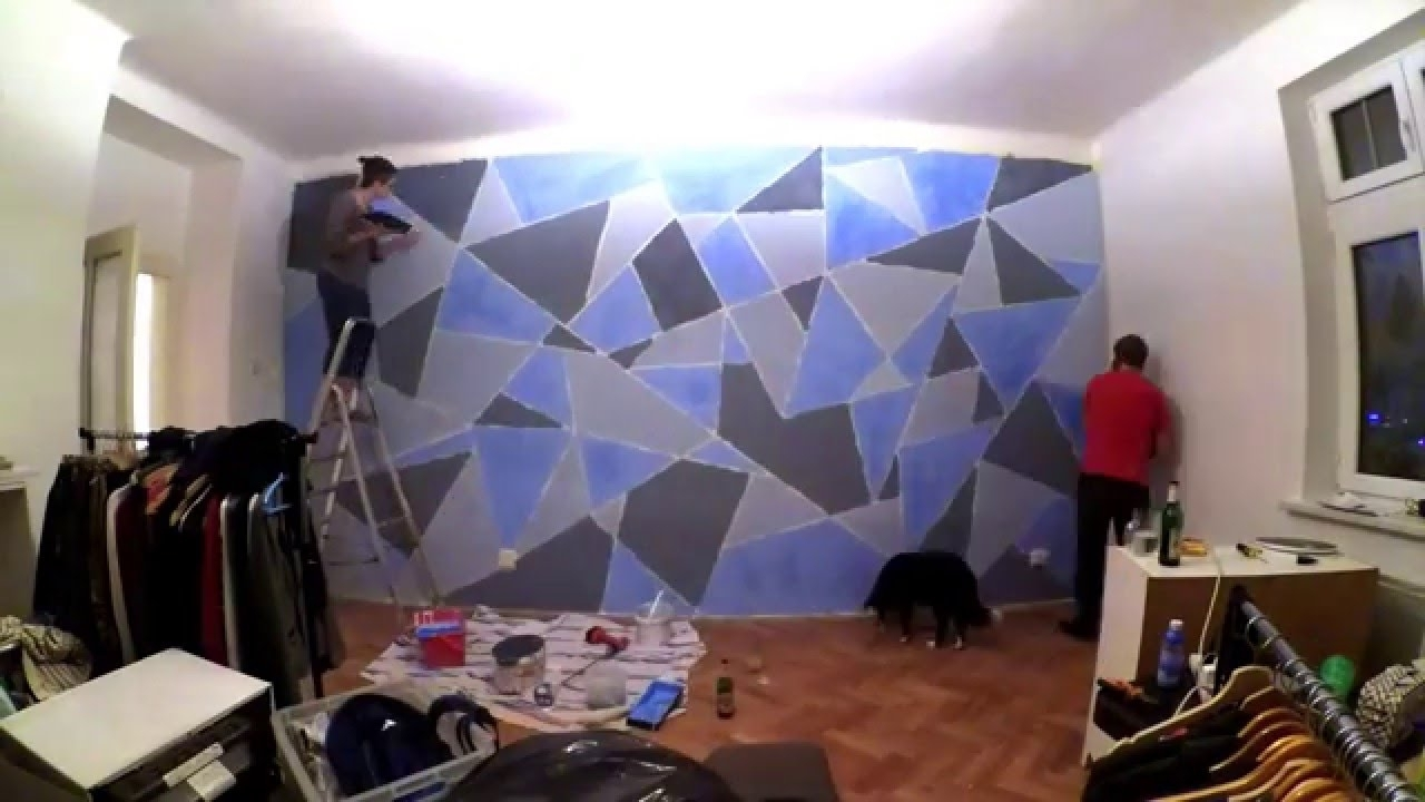 Most Current Geometric Shapes Wall Accents Throughout Diy Geometric Wall Painting – Youtube (View 2 of 15)