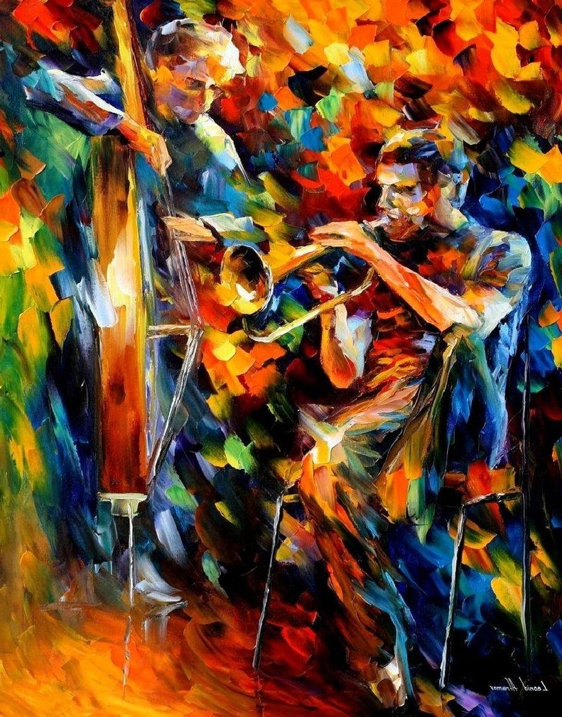 Most Current Jazz Duo — Oil Painting On Canvasleonid Afremov (View 10 of 15)