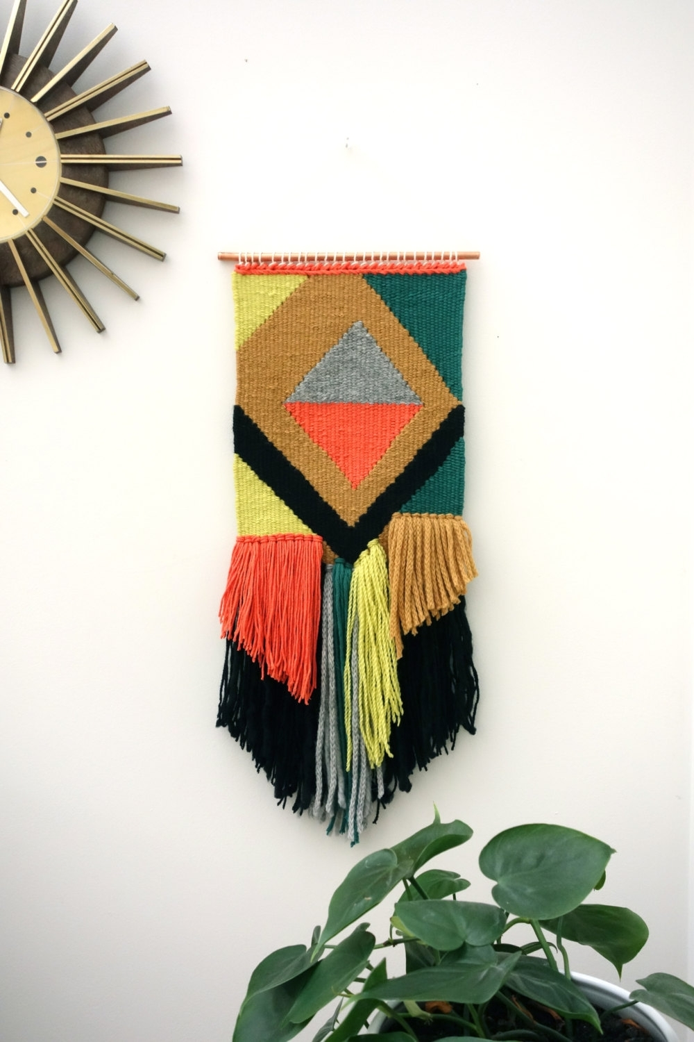 "Most Current Mid Century Textile Wall Art Within Woven Wall Hangings / Hand Woven Tapestry / Weaving ""diwali Night (View 11 of 15)"