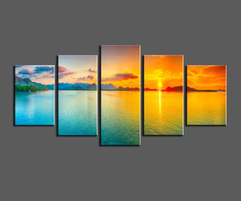 Most Current Ocean Canvas Wall Art With Sunset Ocean View, Framed Large Hd Canvas Print Painting Artwork (View 5 of 15)