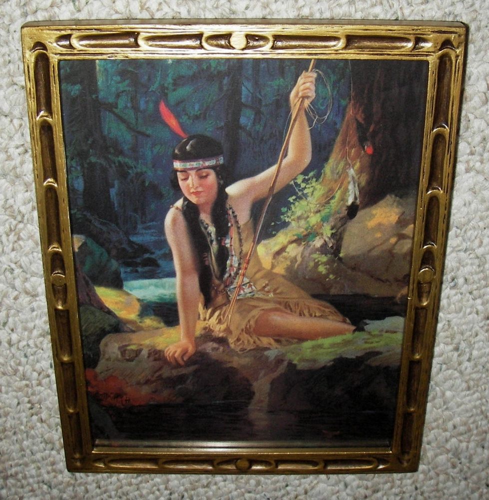 Most Current Old Org Print ~ Young Indian Maiden ~ Iona ~ Spear Fishing ~ Old In Antique Framed Art Prints (View 10 of 15)