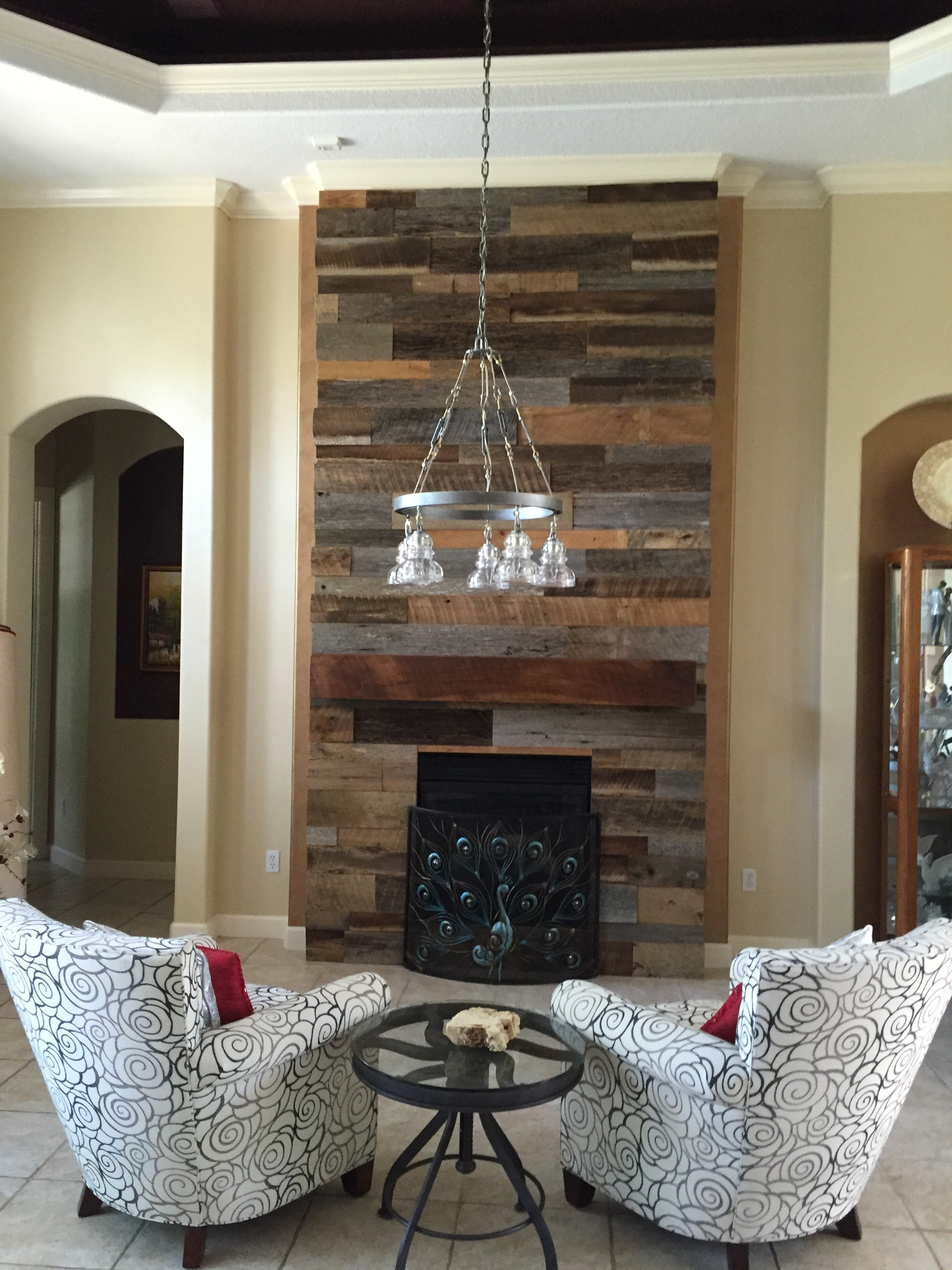 Most Current Reclaimed Wood Wall Accents Regarding Accent Fireplace Decor