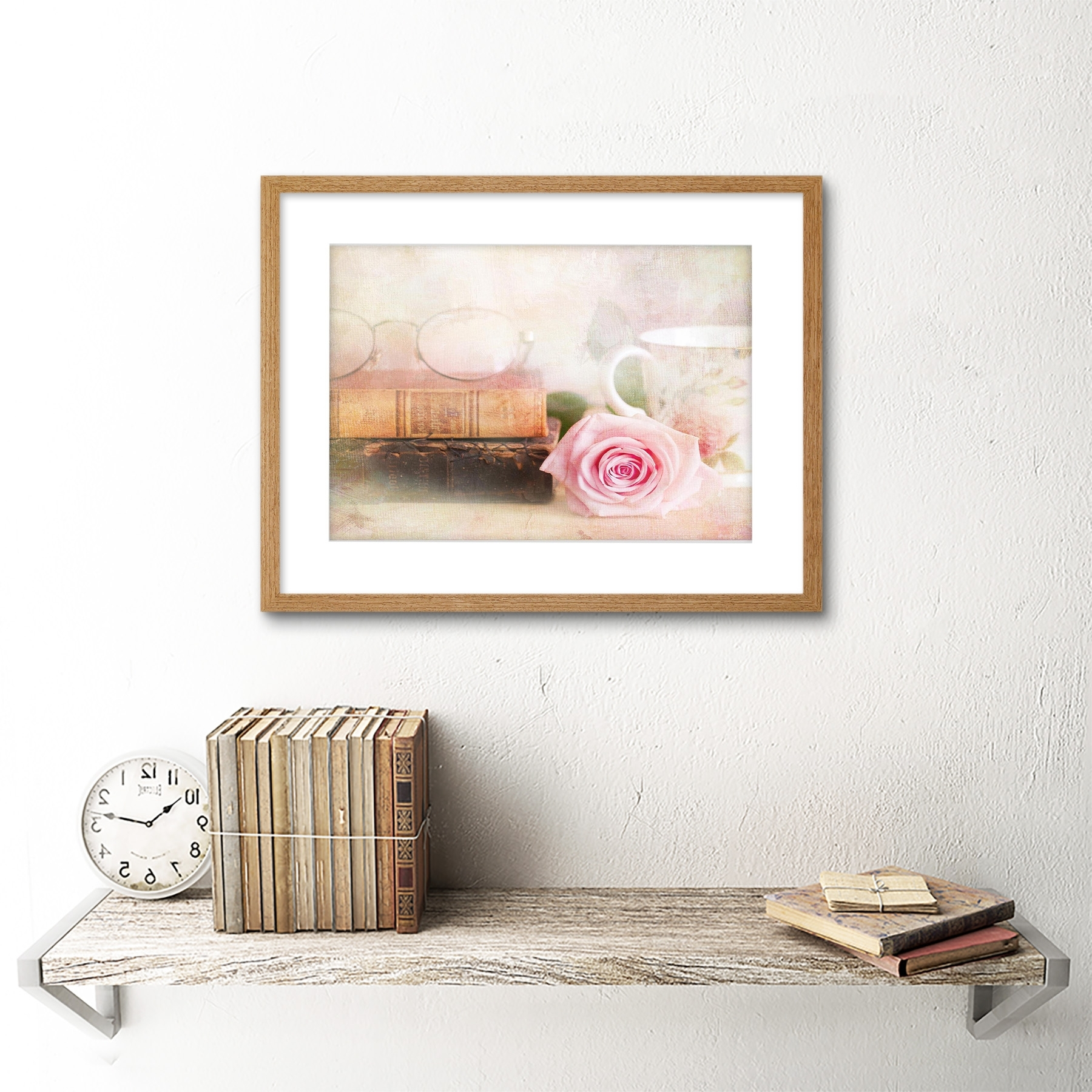 Most Current Shabby Chic Framed Art Prints In Rose Vintage Book Shabby Chic Black Frame Framed Art Print Picture (View 10 of 15)