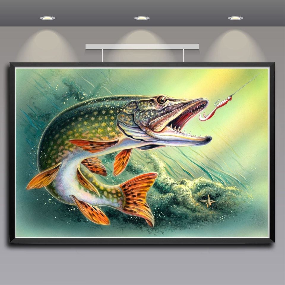 Most Current Silk Fabric Wall Art Pertaining To Artwork Animals Fish Water Art Silk Fabric Poster Prints Home Wall (View 8 of 15)