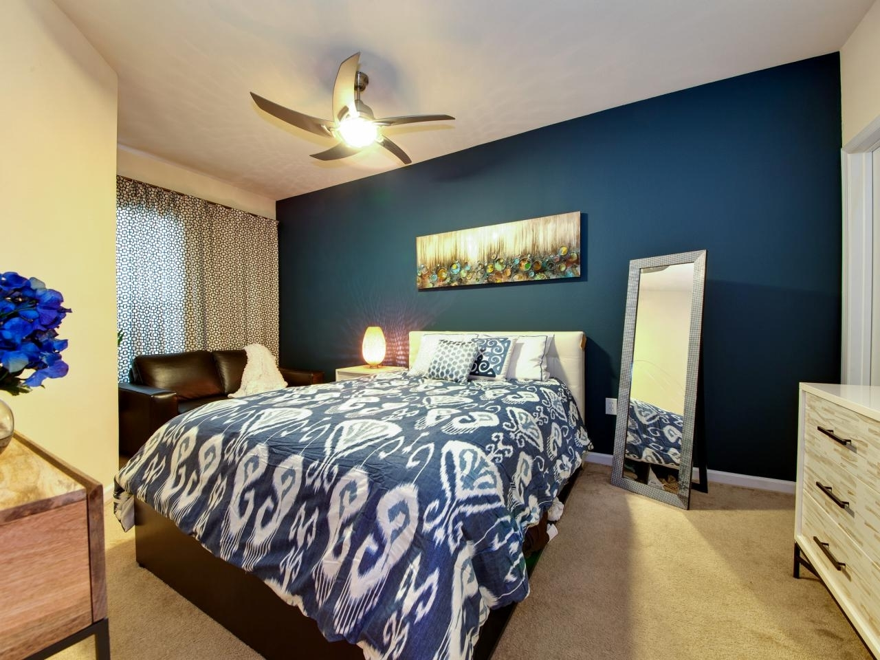 Most Current Wall Accents Colors For Bedrooms With Bedroom : Incredible Bedroom Design With Dark Blue Accent Wall (View 8 of 15)