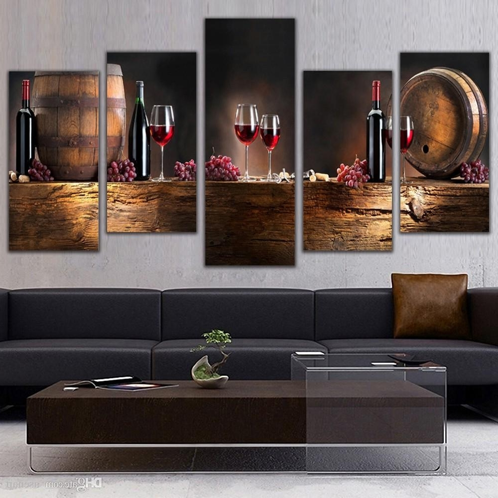 Most Popular 2018 5 Panel Wall Art Fruit Grape Red Wine Glass Picture Art For Inside Kitchen Canvas Wall Art (View 12 of 15)