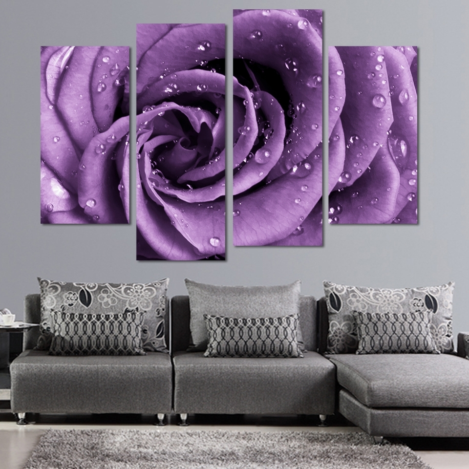 Most Popular 4 Panels Canvas Print Purple Rose Painting On Canvas Wall Art In Roses Canvas Wall Art (View 6 of 15)