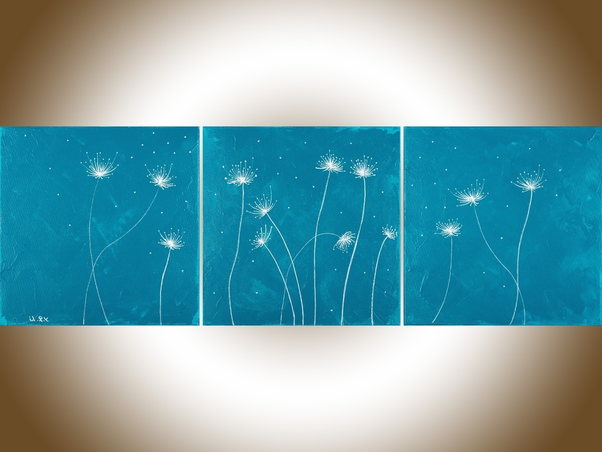 "Most Popular Dandelions 3Qiqigallery 36""x12"" Original Modern Abstract With Regard To Dandelion Canvas Wall Art (View 9 of 15)"