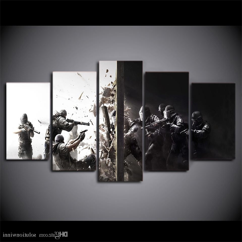 Most Popular Framed Printed Rainbow Six Siege Game Home Wall Decor Canvas In Rainbow Canvas Wall Art (View 3 of 15)