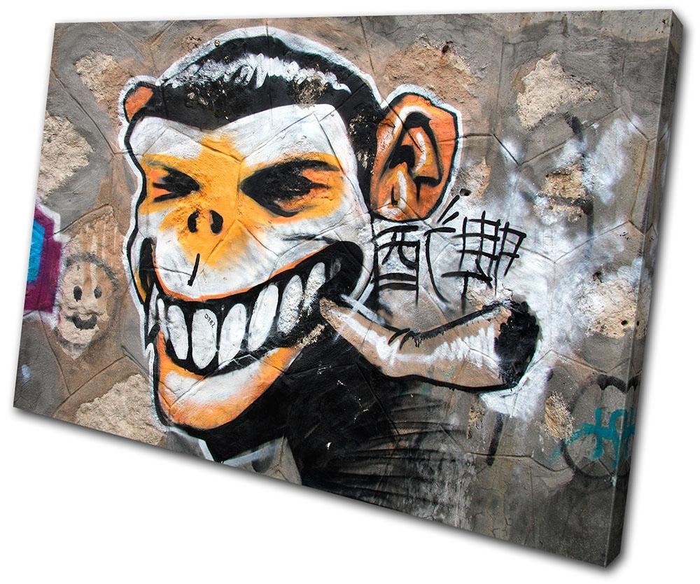 Most Popular Graffiti Art Canvases Monkey Urban Smoking Graffiti Single Canvas Throughout Graffiti Canvas Wall Art (View 11 of 15)