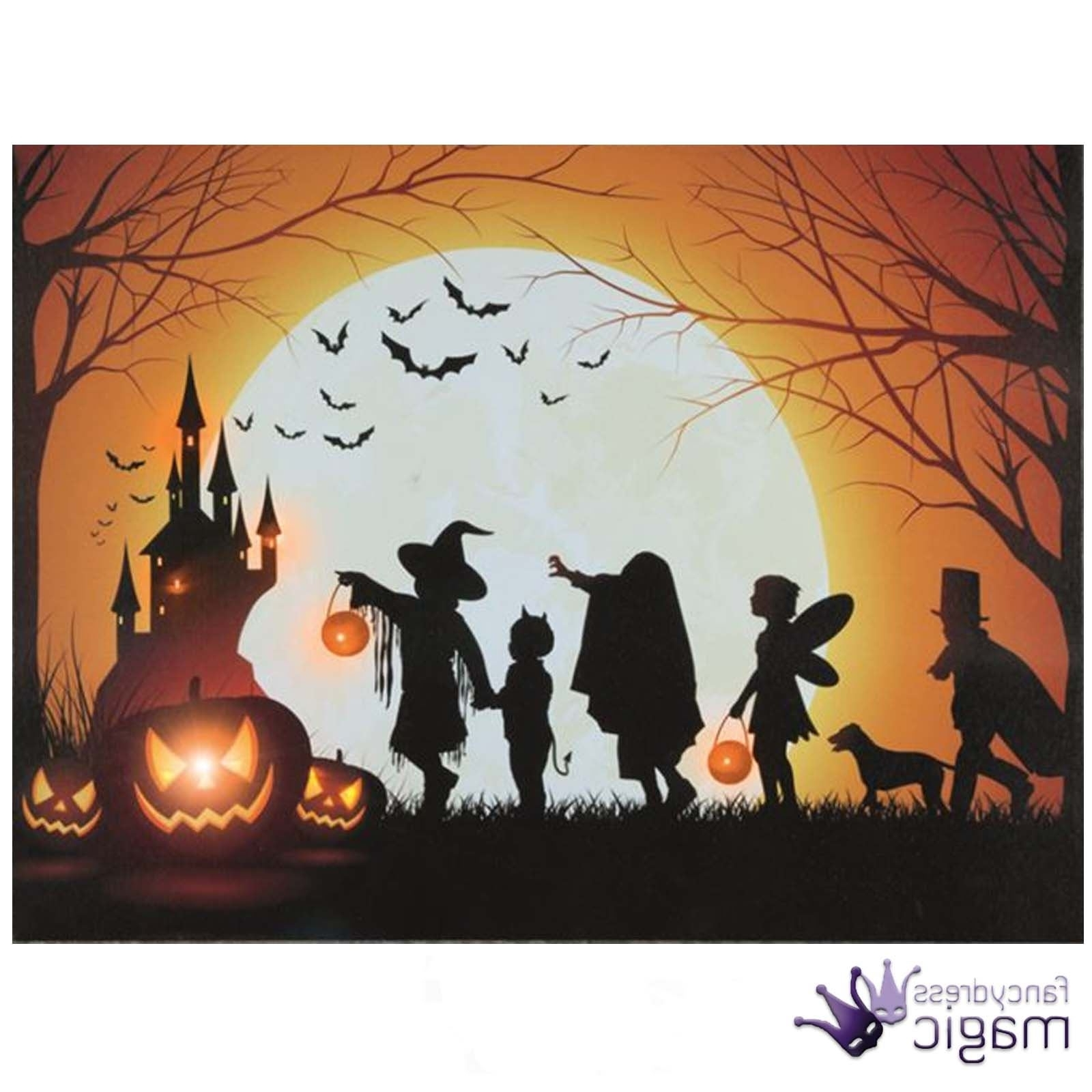Most Popular Halloween Led Canvas Wall Art Pertaining To Led Light Up Canvas Halloween Spooky Scene Picture Wall Home (View 10 of 15)