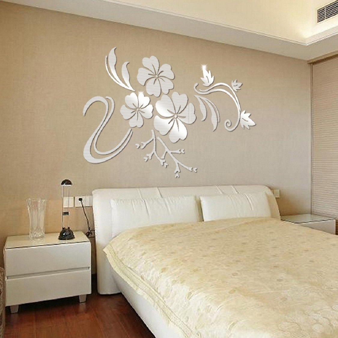 Most Popular Ikevan 1set Acrylic Art 3d Mirror Flower Wall Stickers Diy Home Intended For Removable Wall Accents (View 2 of 15)