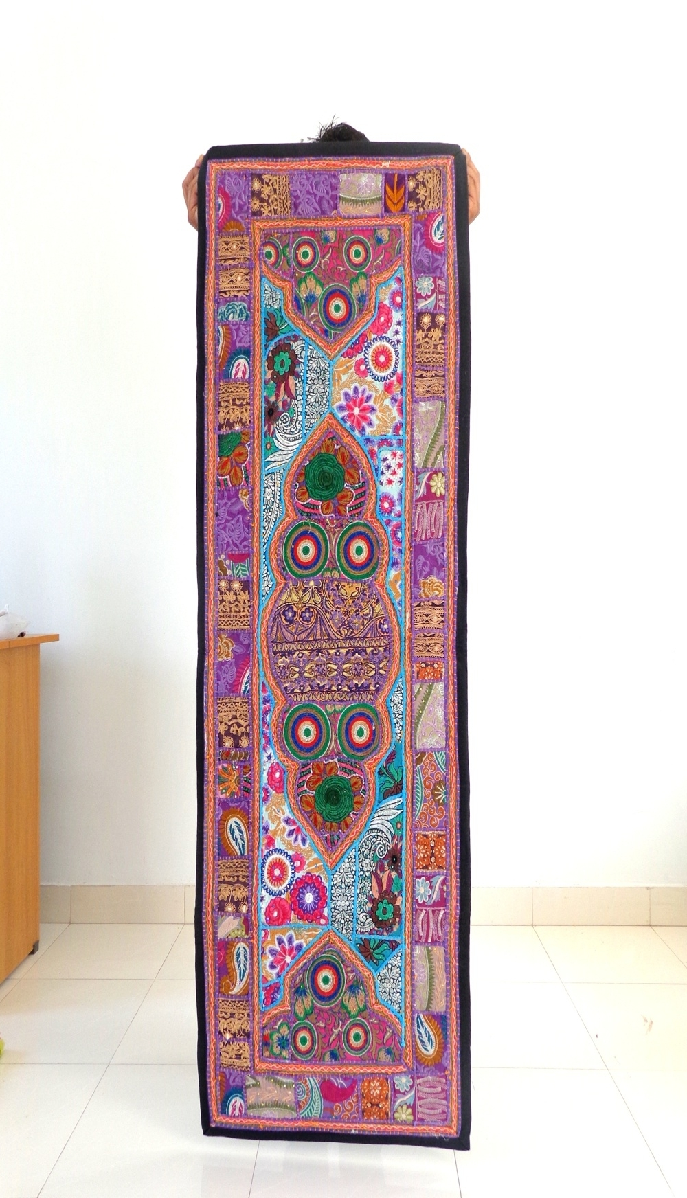 Most Popular Indian Handmade Thread Work Tapestry Vintage Patch Cut Work Wall For Handmade Textile Wall Art (View 13 of 15)