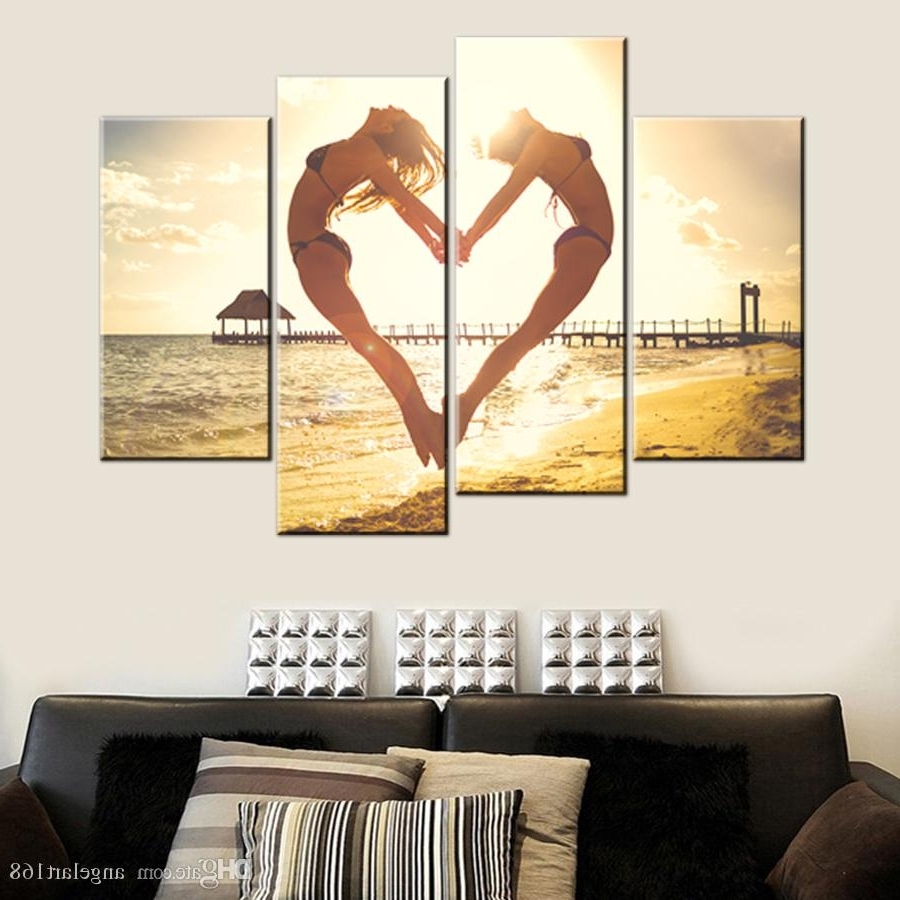 Most Popular Jump Canvas Wall Art For 2018 Unframed Seaside Jump Heart Two Girl Hd Print On Canvas Wall (View 11 of 15)