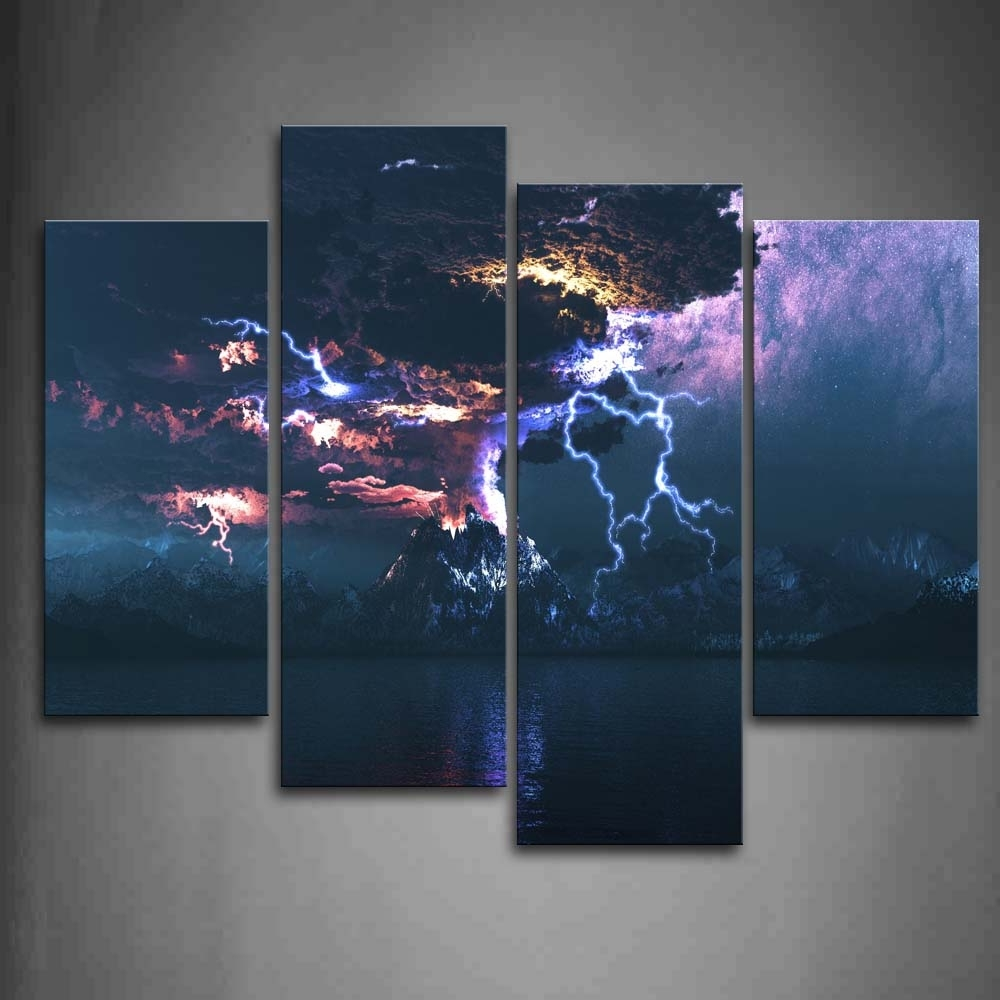 Most Popular Jump Canvas Wall Art Within Wall Art Designs: Sensational Canvas Lightning Wall Art Closer (View 6 of 15)