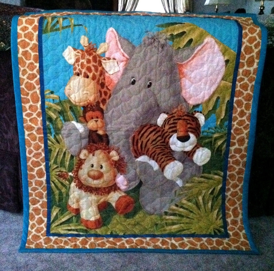 Most Popular Jungle Baby Quilt Panel Blanketnursery Wall Hanging Olive Green Inside Quilt Fabric Wall Art (View 6 of 15)
