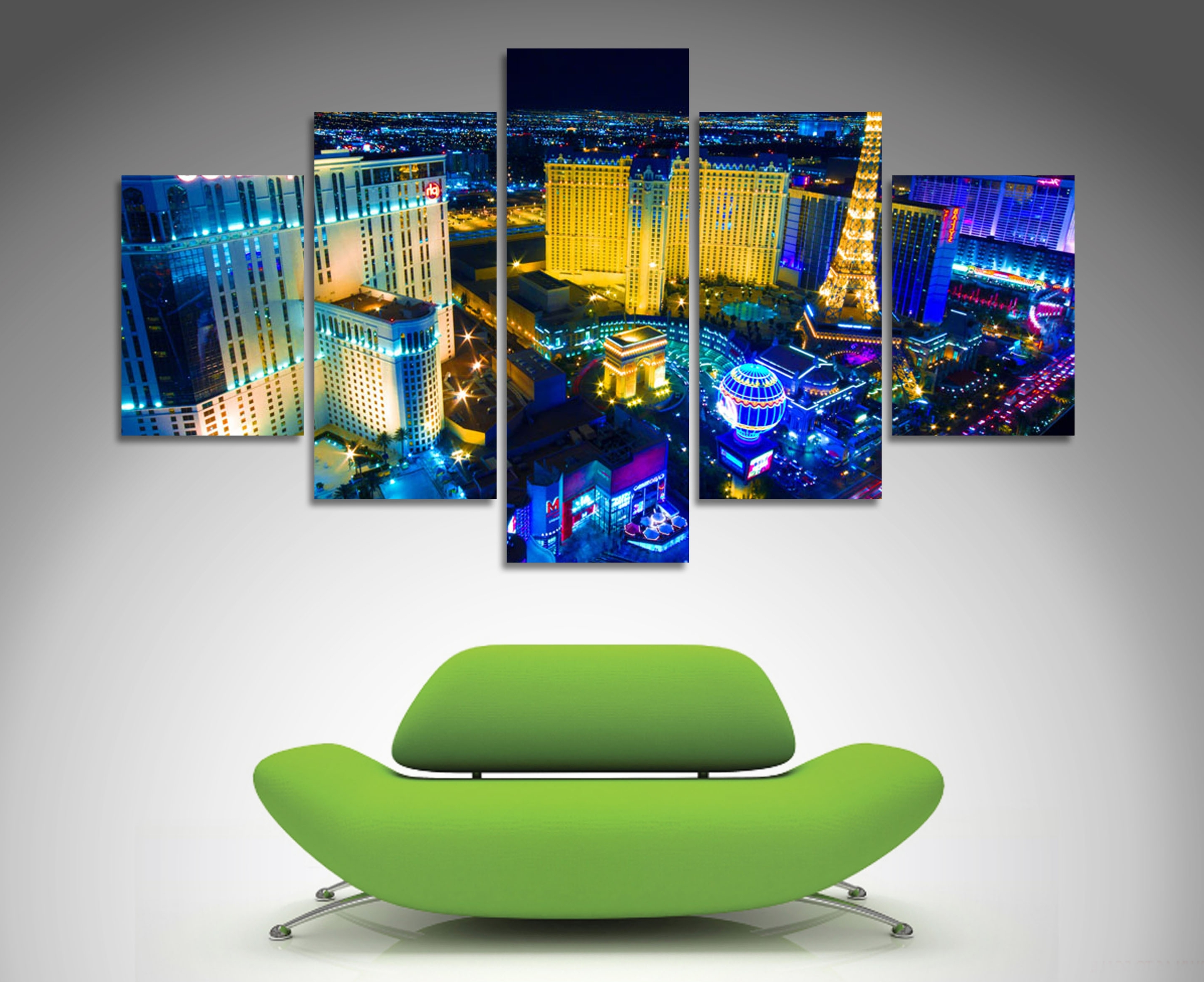 Most Popular Las Vegas 5 Panel Diamond Shape Canvas Prints Http://www Throughout Las Vegas Canvas Wall Art (View 10 of 15)