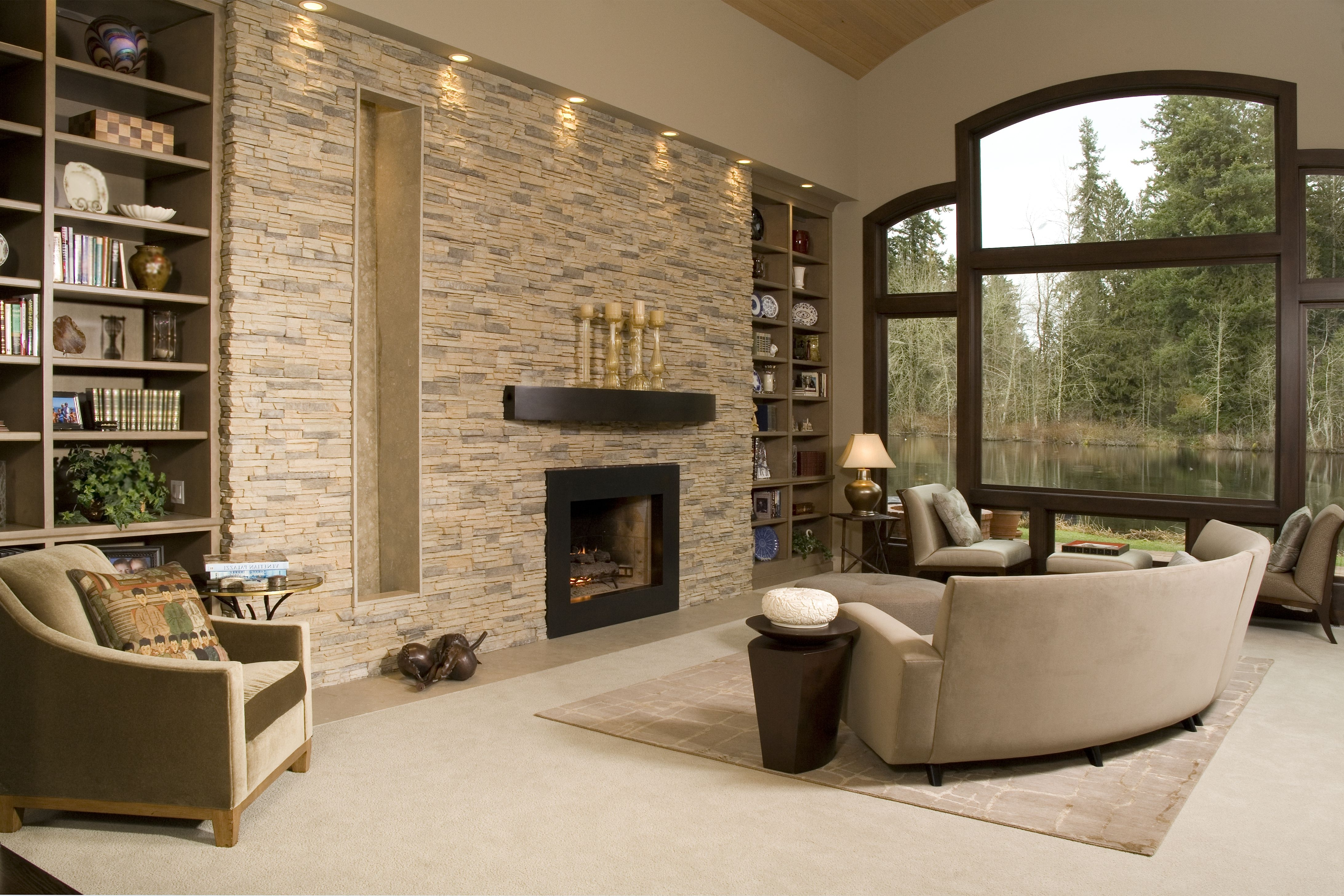 Most Popular Neutral Color Wall Accents In Contemporary Living Room With Stacked Stone Accent Wall, Recess (View 9 of 15)