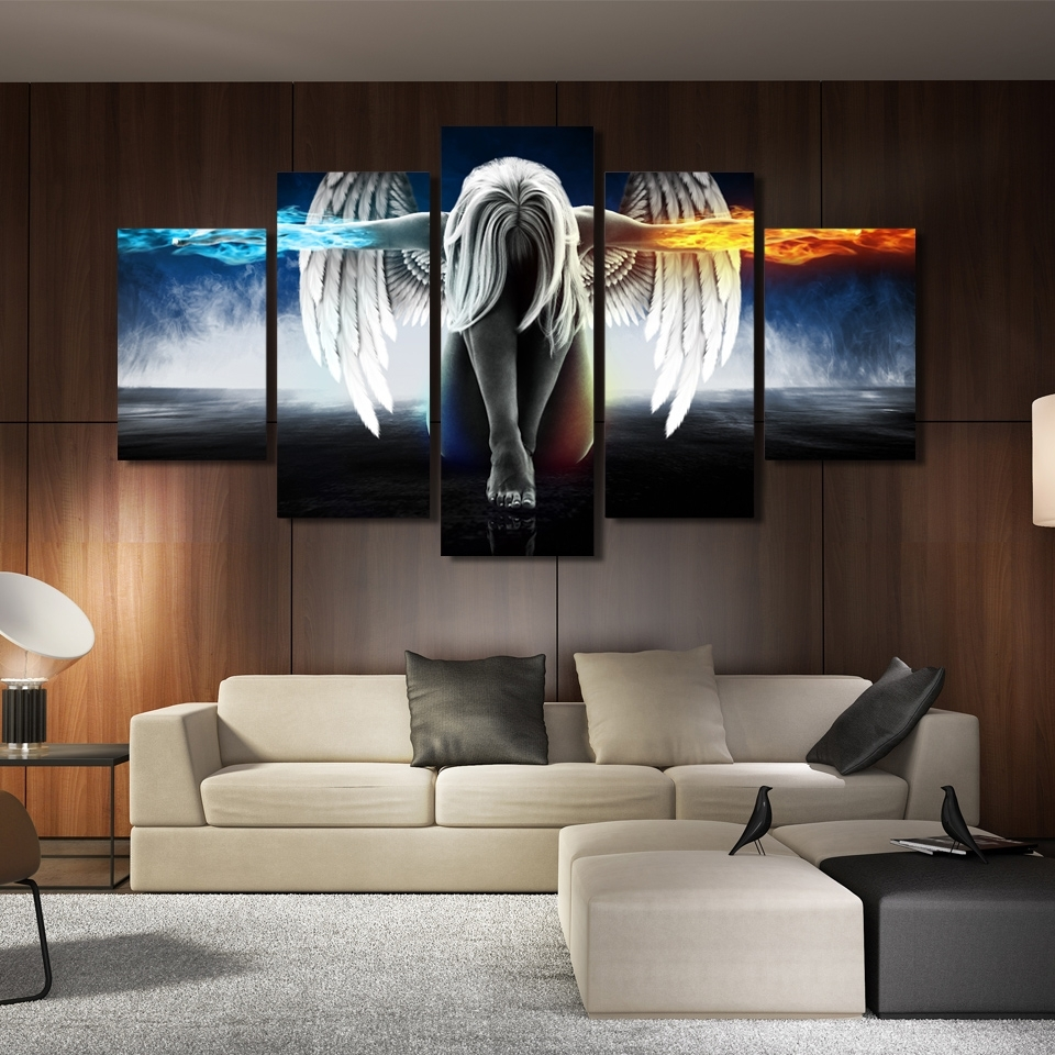 Most Popular Printed 5 Piece Canvas Art Angel With Wings Painting Anime Room Inside Anime Canvas Wall Art (View 9 of 15)