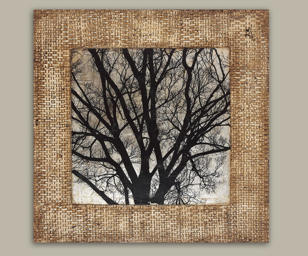 Most Popular Textured Fabric Wall Art Throughout Wall Art Decor: Modern Branches Textured Wall Art Black White (View 6 of 15)