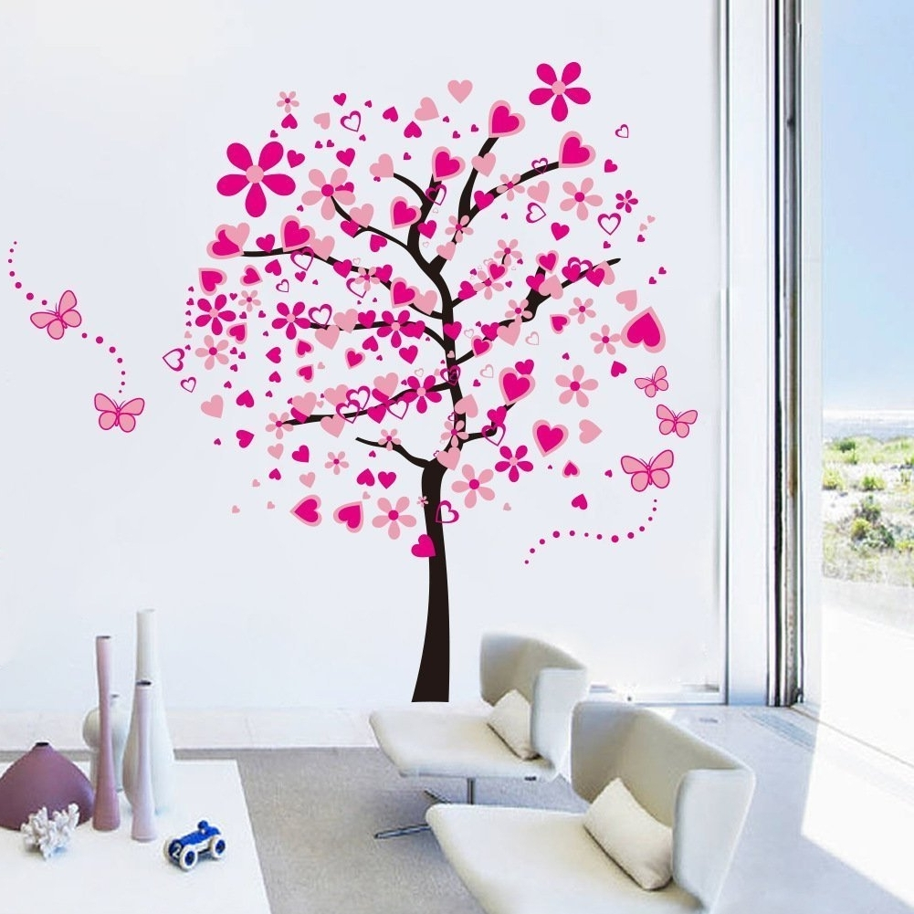 Most Recent Elecmotive Huge Size Cartoon Heart Tree Butterfly Wall Decals Inside Removable Wall Accents (View 8 of 15)