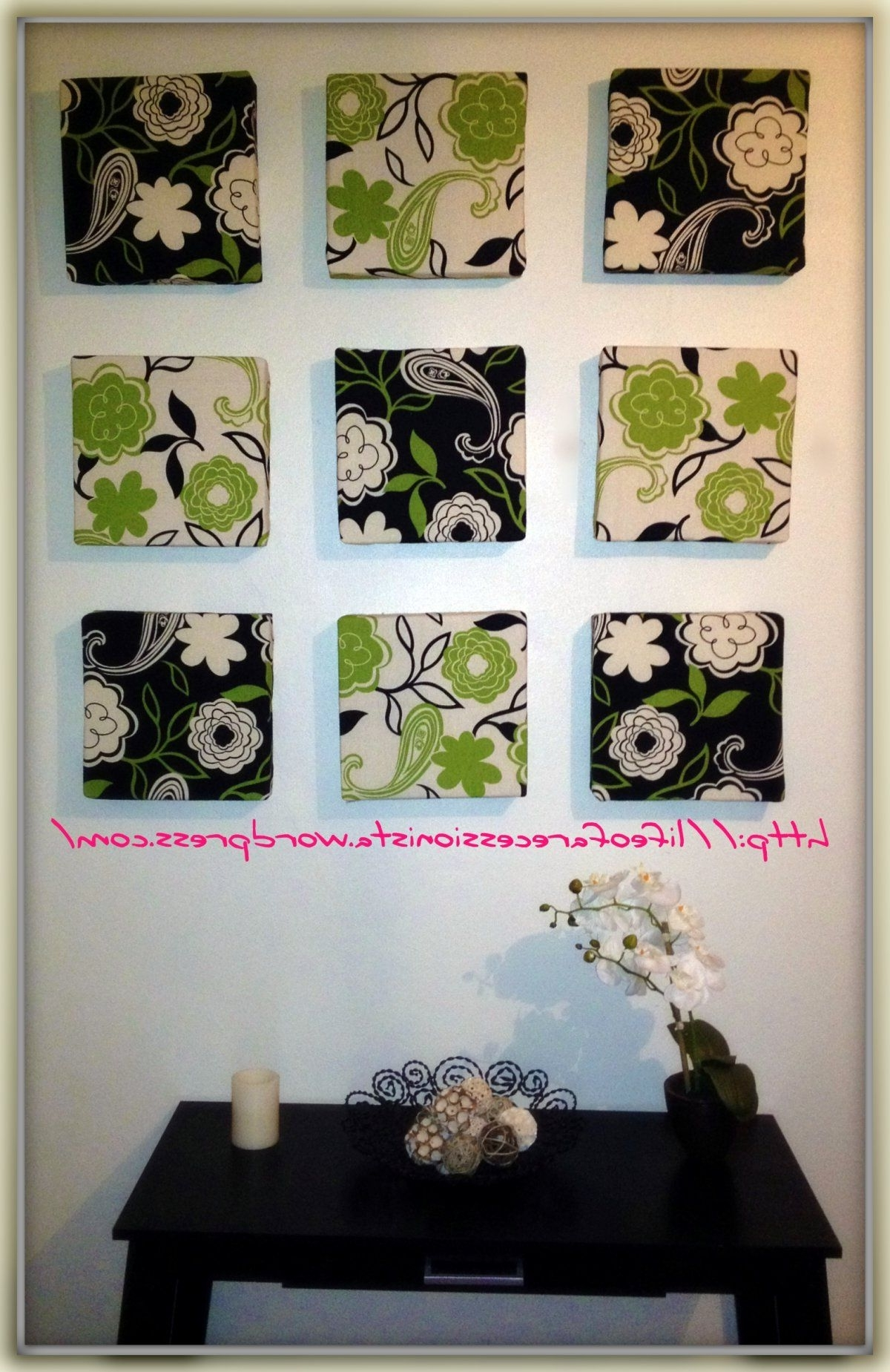 Most Recent From Faux Fireplaces And Chinese Pottery Art To Marble Frame Pertaining To Fabric Covered Squares Wall Art (View 7 of 15)