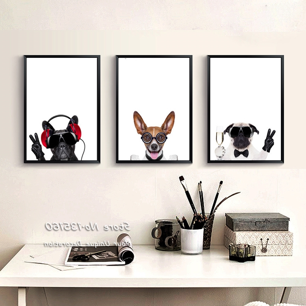 Most Recent Funky Art Framed Prints Throughout Triptych Canvas Art Pet Dogs Prints Nursery Baby Bedroom Animated (View 9 of 15)