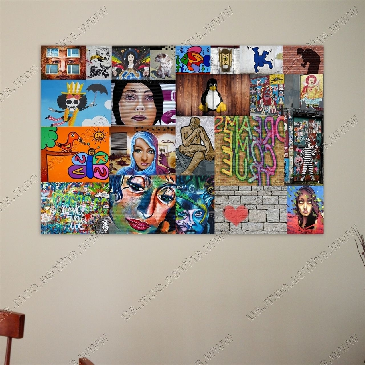 Most Recent Geelong Canvas Wall Art With Penguin Street Art Collage Print #art #street Art #canvas (View 10 of 15)
