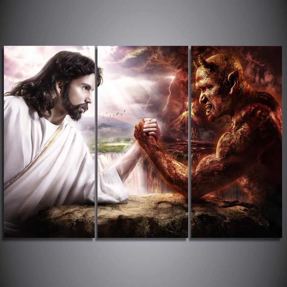 Most Recent Hd Printed 3 Piece Jesus Christ Arm Wrestling With Devil Painting With Regard To Jesus Canvas Wall Art (View 11 of 15)