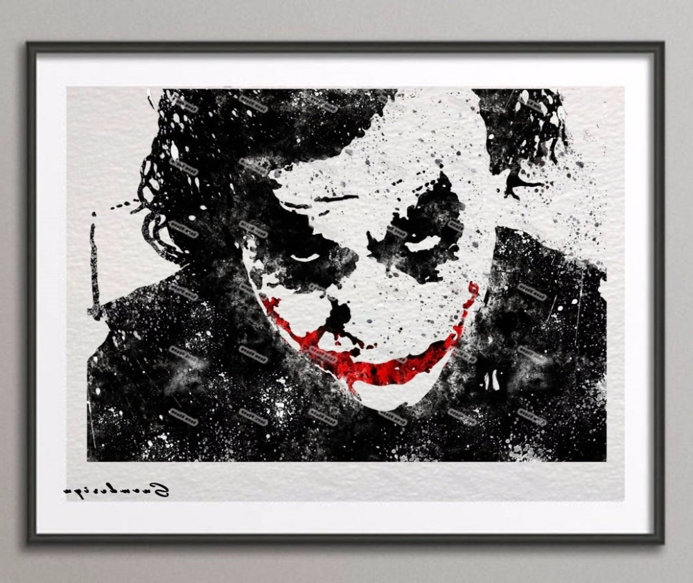 Most Recent Joker Canvas Wall Art With Regard To Batman Heath Ledger Joker Original Watercolor Canvas Painting (View 7 of 15)