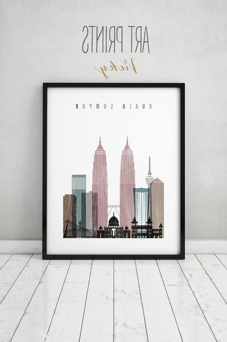 Most Recent Kuala Lumpur Art Print, Kuala Lumpur Skyline, Poster, Wall Art With Malaysia Canvas Wall Art (View 12 of 15)
