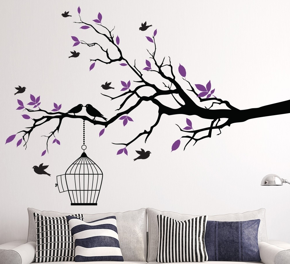 Most Recent Living Room : Stunning Vinyl Wall Decal Decorating Ideas With With Regard To Fabric Tree Wall Art (View 4 of 15)