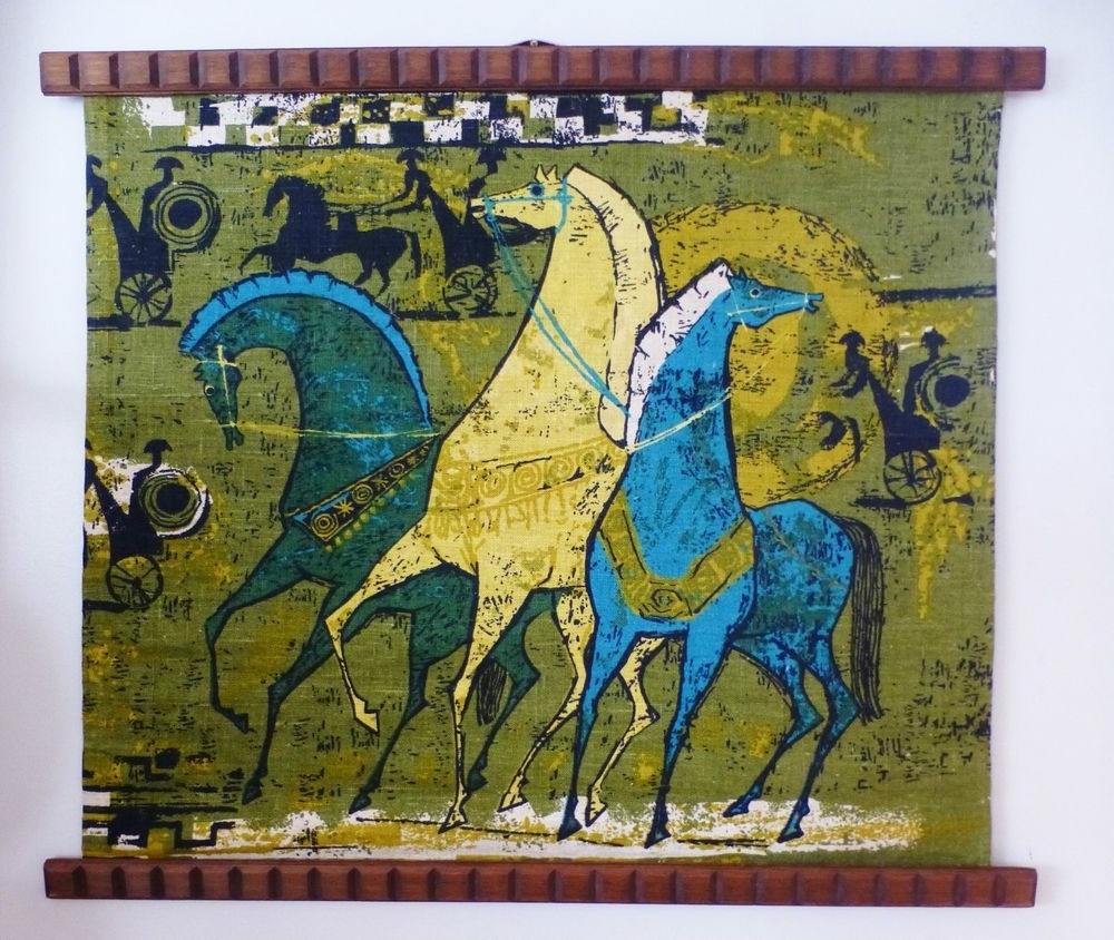 Most Recent Mid Century 1960's Linen Retro Horse Chariot Fabric Teak Trim Wall Within Mid Century Textile Wall Art (View 12 of 15)