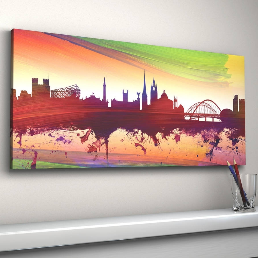 Most Recent Newcastle Canvas Wall Art For Newcastle Skyline Cityscape Printartpause (View 3 of 15)