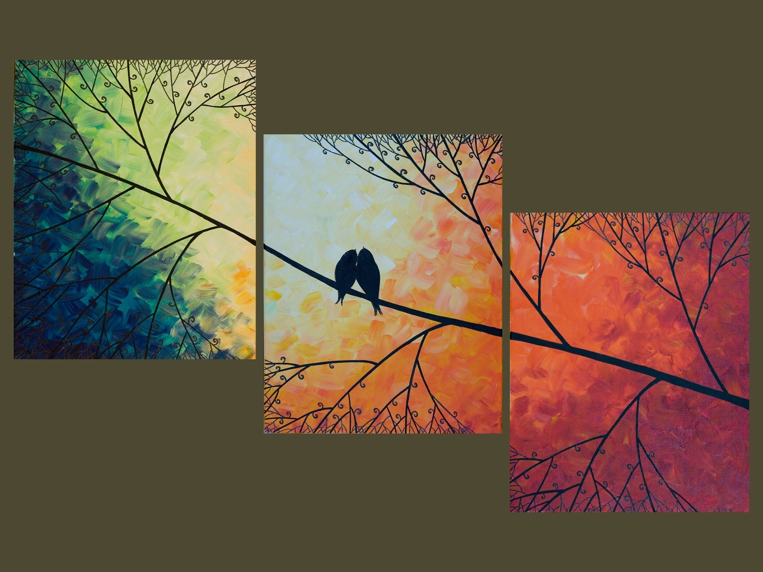 "Most Recent Rainbow Canvas Wall Art For 48"" Large Birds Art Rainbow Color Art Acrylic Landscape Painting (View 4 of 15)"