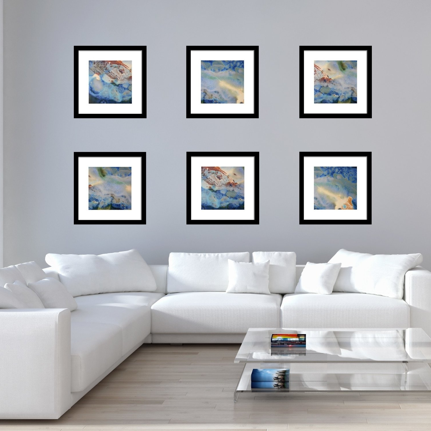 Most Recent Set Of 6 Abstract Framed Prints – Square #17, 18 &  (View 8 of 15)
