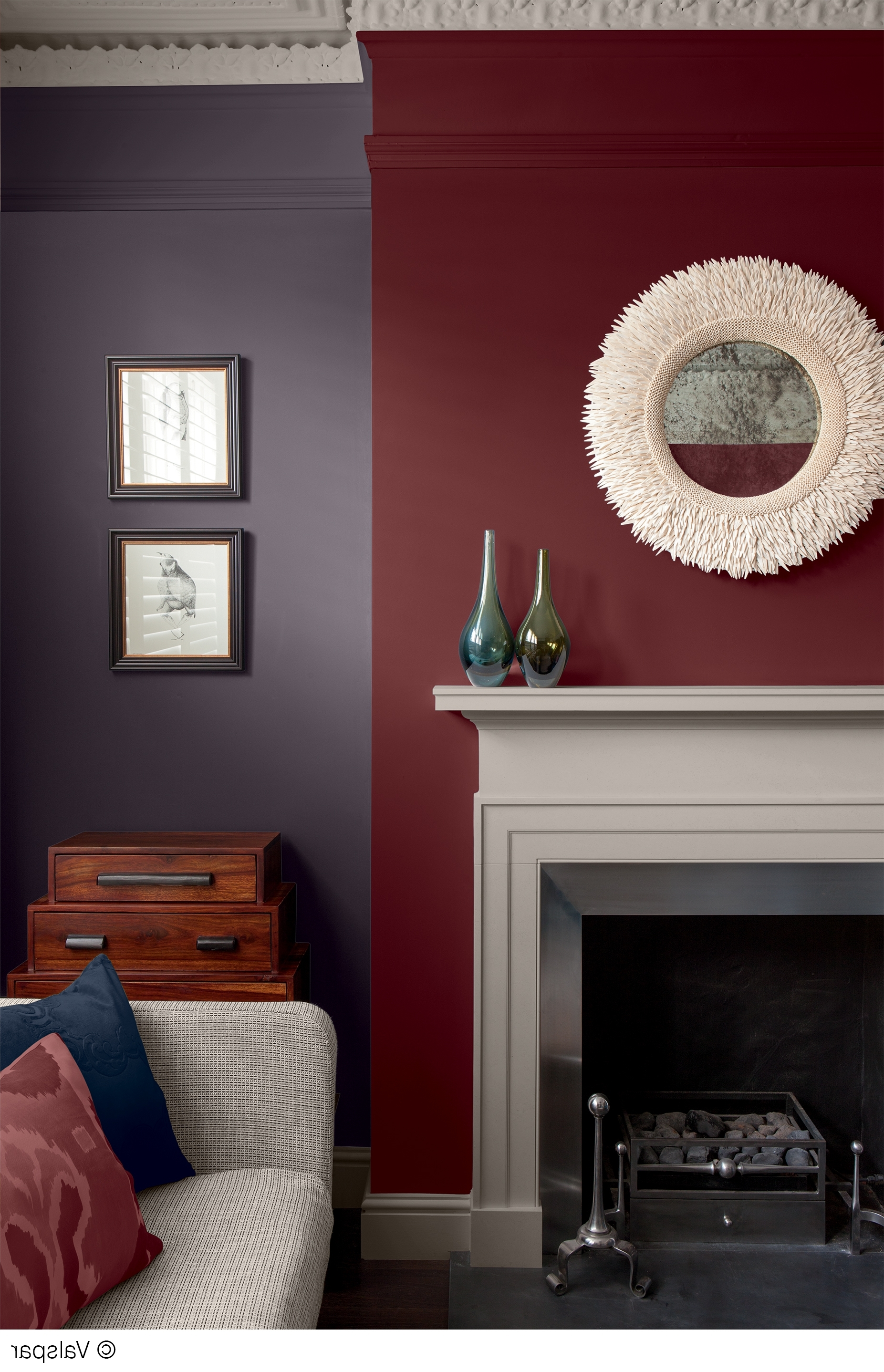 Most Recent This Mix Of Colors And Textures Makes For A Cozy, Comfortable Room With Maroon Wall Accents (View 10 of 15)