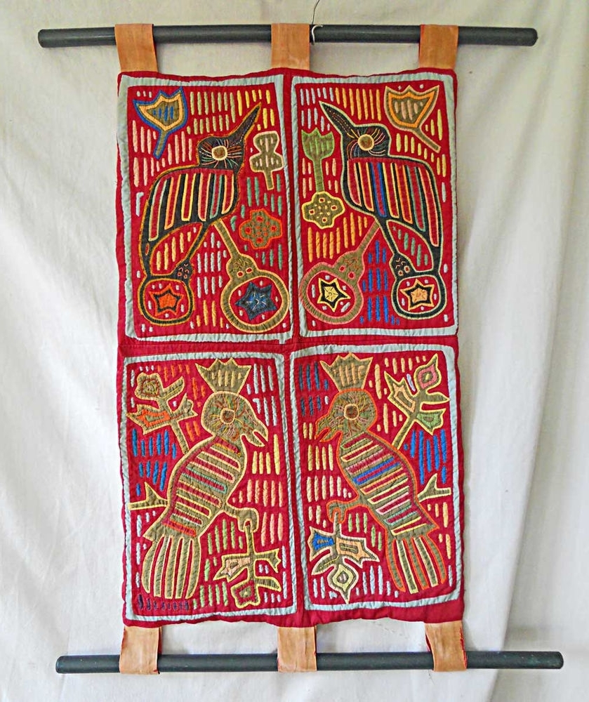 Most Recent Wall Hanging 4 Mola San Blas Bird Folk Art Kuna Vintage Textile For Vintage Textile Wall Art (View 5 of 15)