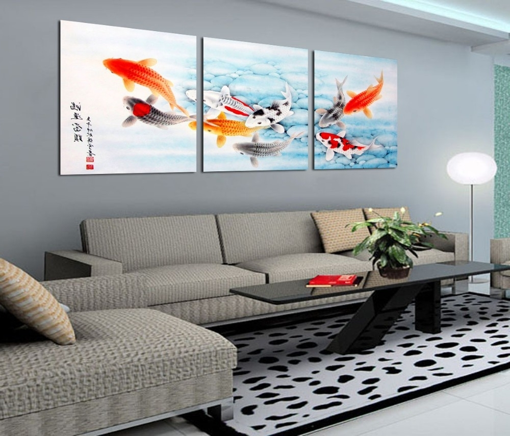 Most Recently Released 3 Piece Koi Fish Wall Art Chinese Painting Wall Art On Canvas Home In Koi Canvas Wall Art (View 9 of 15)