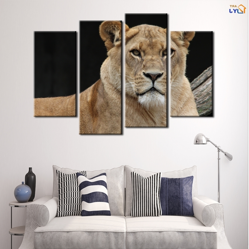 Most Recently Released 4 Pcs Home Decor Lion King Oil Painting On Canvas Wall Art Gift Hd With Lion King Canvas Wall Art (View 8 of 15)
