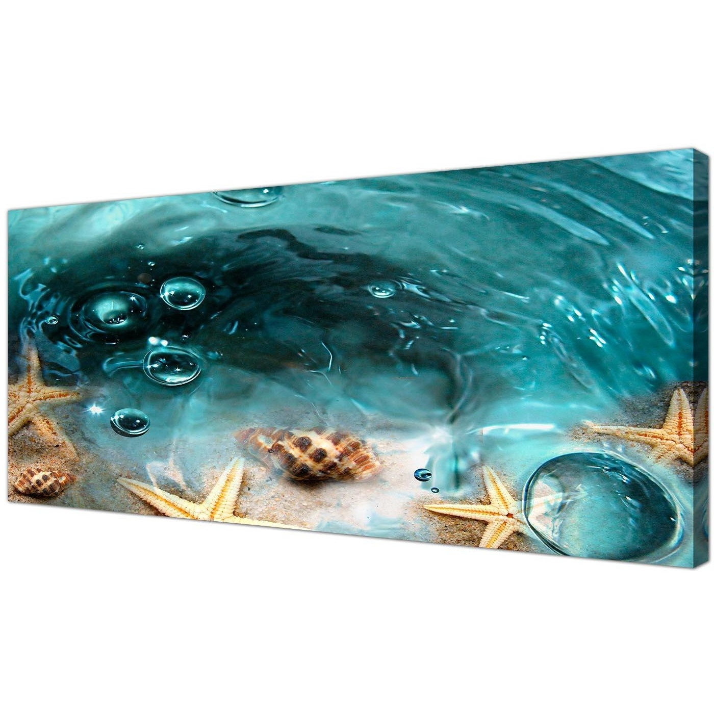Most Recently Released Bathroom Canvas Wall Art In Teal Seaside Starfish In Sand Bathroom Wall Art (View 12 of 15)