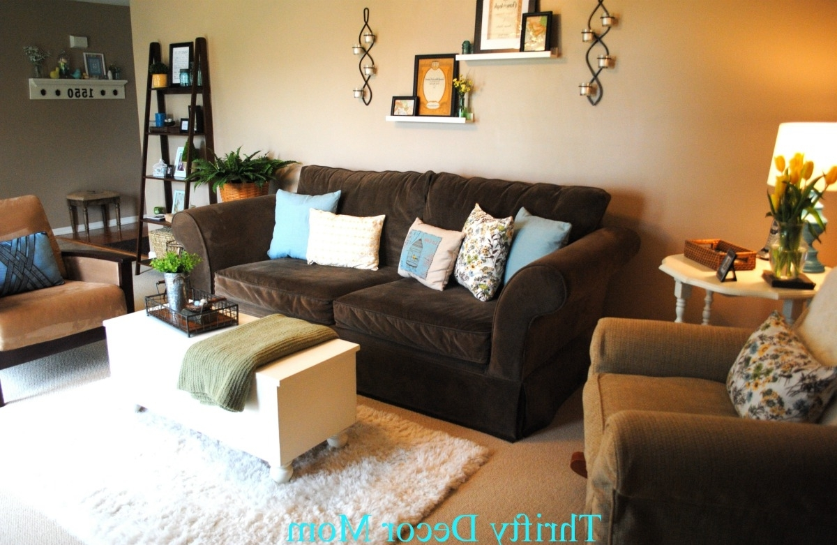 Most Recently Released Brown Couch Tan Walls Blue Accents Modern All Of The Pillows Brown Pertaining To Brown Furniture Wall Accents (View 3 of 15)