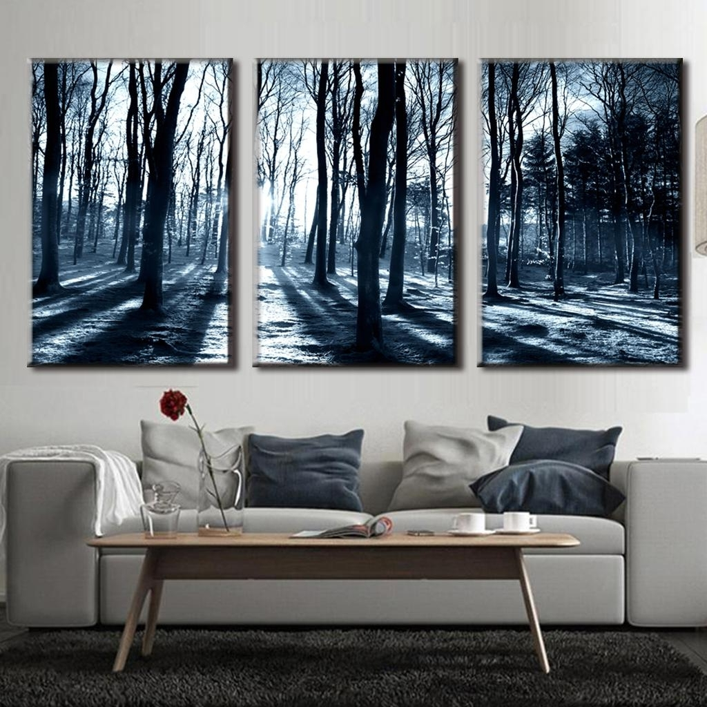 Most Recently Released Canvas Wall Art Of Trees In 3 Pcs/set Art On Canvas Winter Forest Landscape Tree Canvas Prints (View 9 of 15)