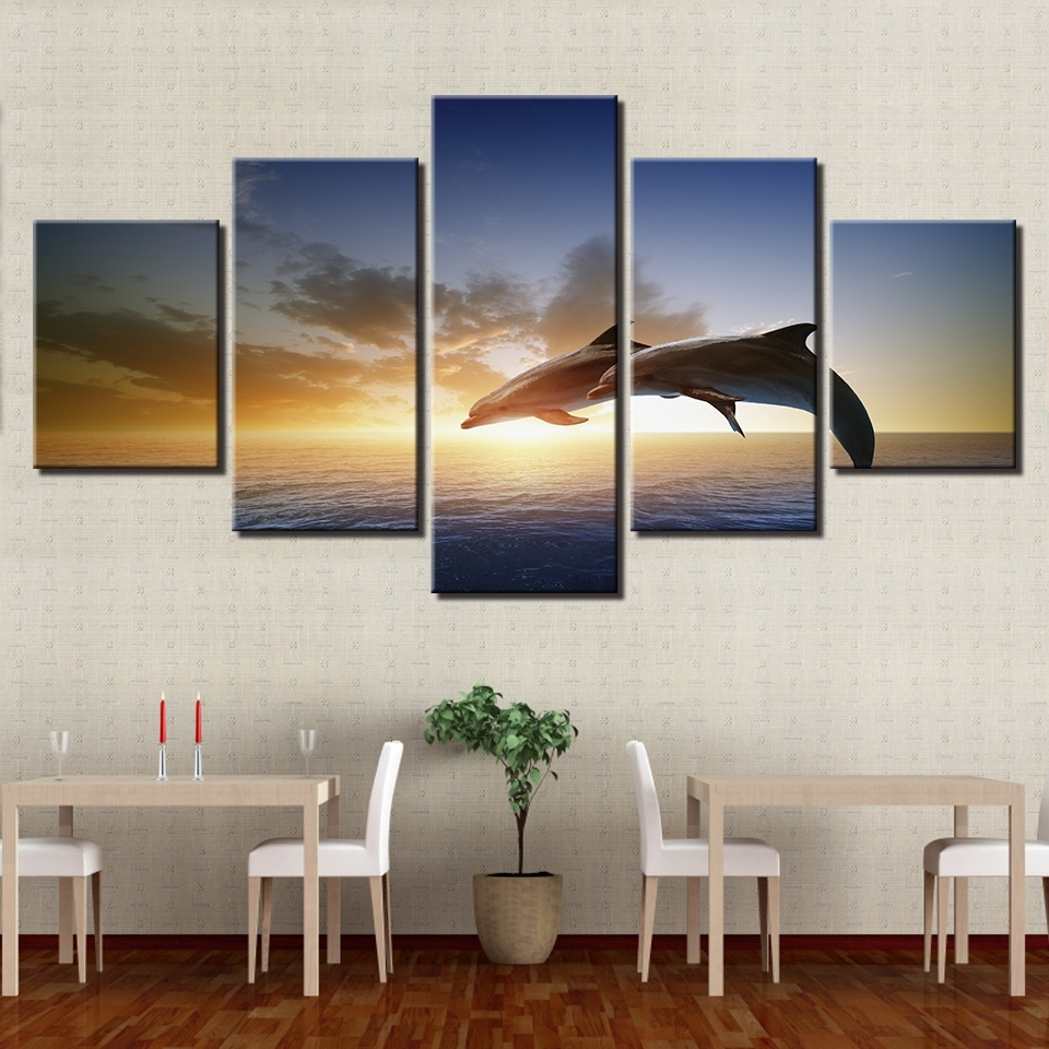 Most Recently Released Canvas Wall Art Pictures Living Room Decor 5 Pieces Jumping With Jump Canvas Wall Art (View 2 of 15)