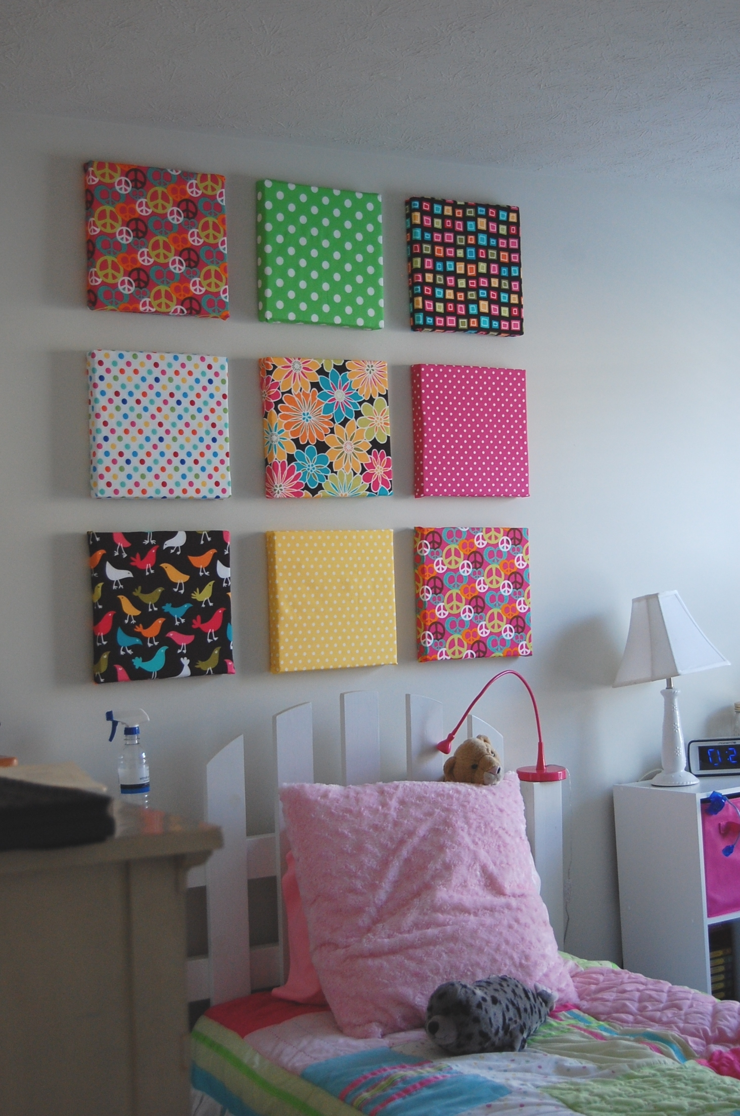 Featured Photo of Fabric Covered Squares Wall Art