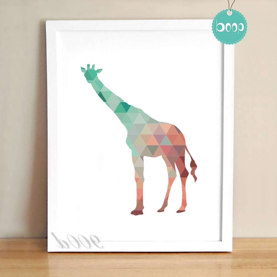 Most Recently Released Giraffe Canvas Wall Art Throughout Colourful Geometric Giraffe Canvas Art Print Poster, Wall Pictures (View 11 of 15)